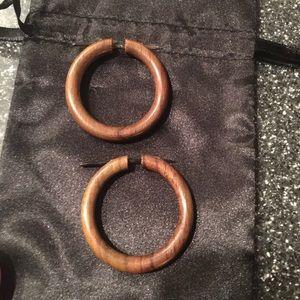 Wood Hoop Stick Earrings